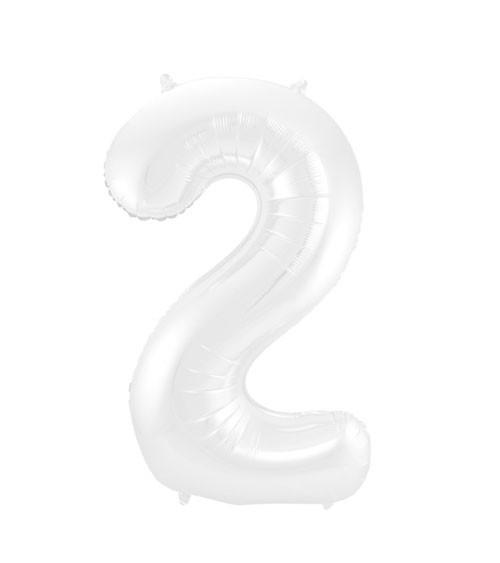 """Zahl-Folienballon """"2"""" - matt weiß - 86 cm"""
