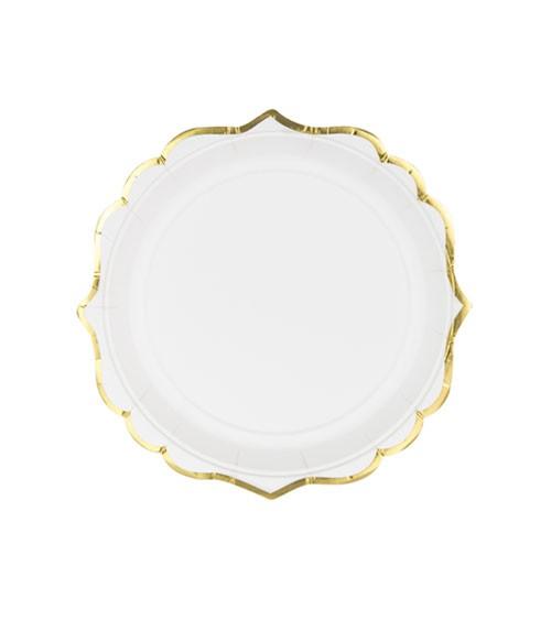 Kleine Pappteller mit Goldrand - weiß - 6 Stück