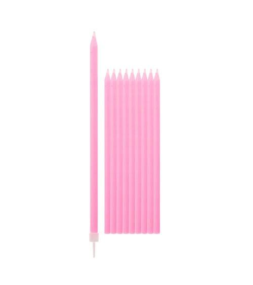 Lange Kuchenkerzen - rosa - 15,5 cm - 10 Stück