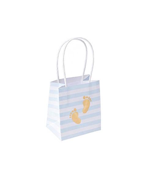 """Gastgeschenktüten aus Papier """"Babyfüßchen"""" - hellblau & gold - 6 Stück"""