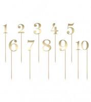 Zahlen-Stecker aus Papier - gold metallic - 1 bis 10