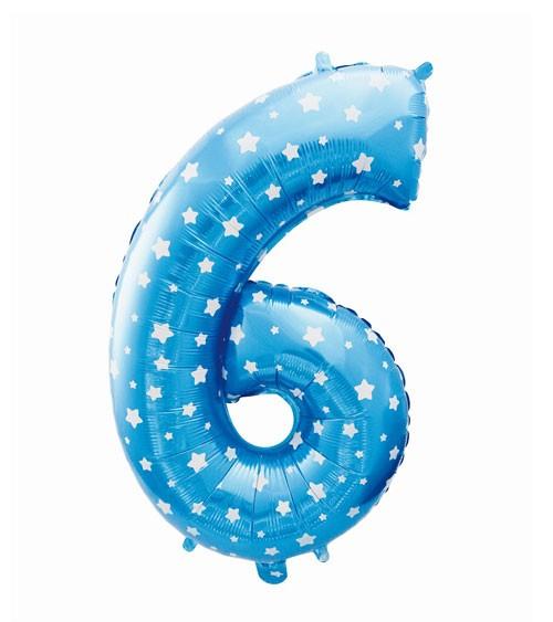 "Folienballon Zahl ""6"" - blau mit Sternen - 61 cm"