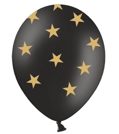 "Luftballons ""Goldene Sterne"" - schwarz - 6 Stück"