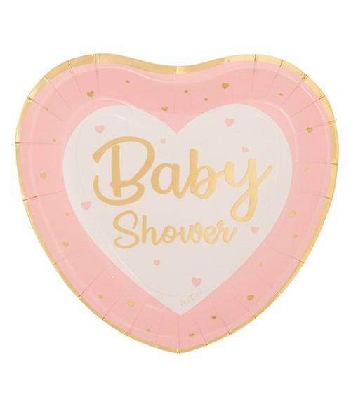 "Herz-Pappteller ""So Sweet"" - Baby Shower - rosa - 8 Stück"