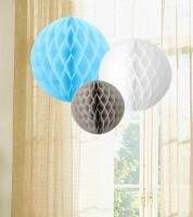 Wabenball Set - pastellblau, weiß, grau - 3-teilig