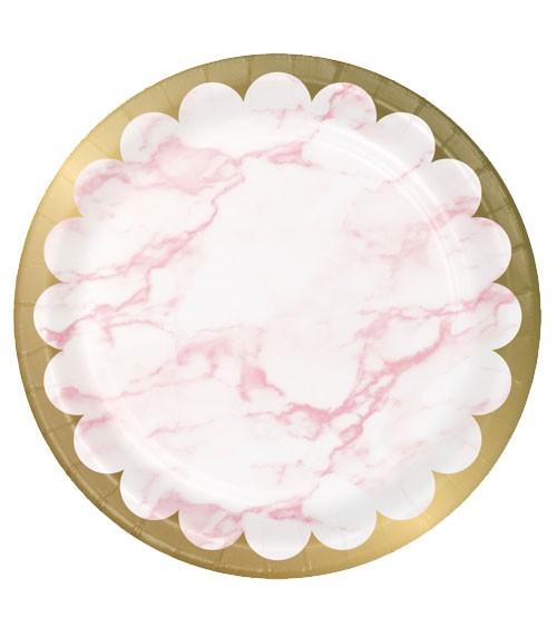 """Pappteller """"Marble"""" - rosa & gold - 8 Stück"""