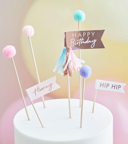 """Cake Topper Set mit Pompons & Tasseln """"Happy Birthday"""" - 11-teilig"""