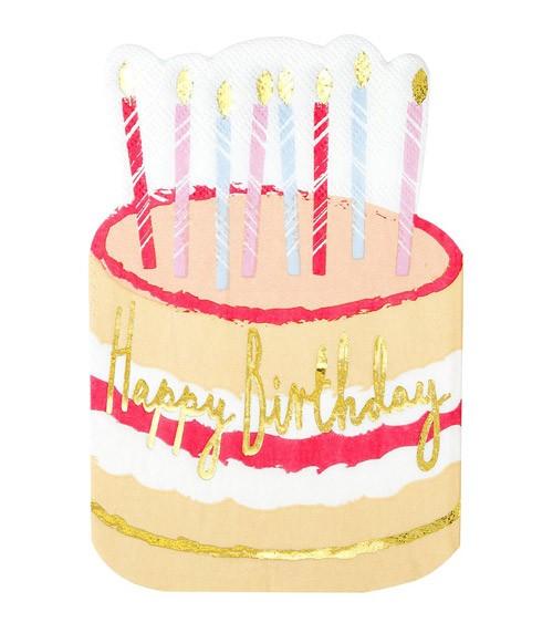 """Shape-Servietten """"Geburtstagstorte"""" - Happy Birthday - 12 Stück"""