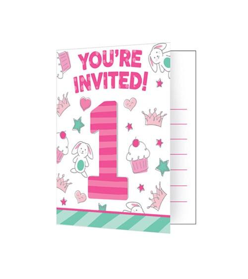 """Einladungskarten """"Happy One - pink"""" - 8 Stück"""