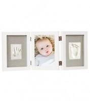 Hand- und Fußabdruck-Set - 3er-Bilderrahmen - weiß