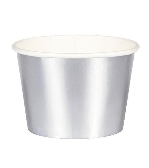 Eisbecher - metallic silber - 6 Stück