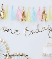 """Schriftzuggirlande """"one today"""" - gold - 1,5 m"""