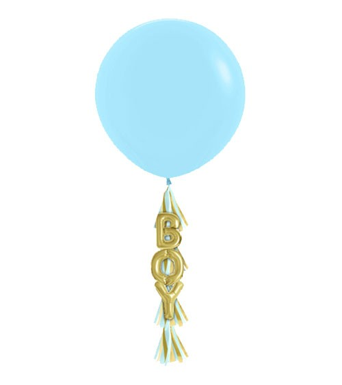 "Riesenballon mit Tasseln ""Boy"" - blau & gold - 3-teilig"