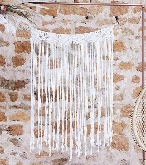Makramee-Wanddeko - weiß - 70 x 105 cm