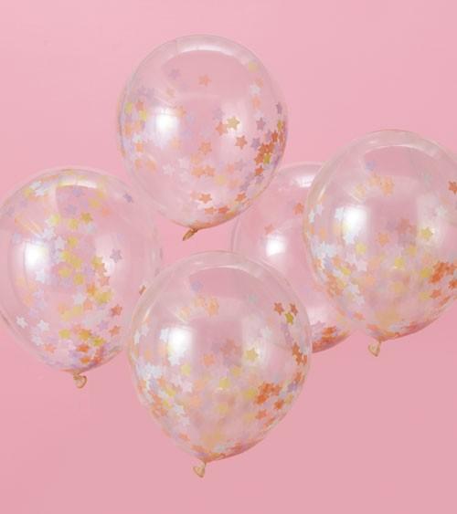 Transparente Ballons mit pastellfarbigem Stern-Konfetti - 5 Stück
