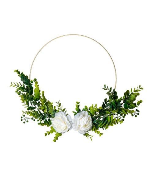 Goldener Metall-Ring mit Eukalyptus und weißen Rosen - 30 cm