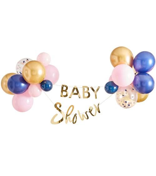 """Hängedeko-Set """"Baby Shower"""" mit Ballons - gold, rosa, navy - 30-teilig"""