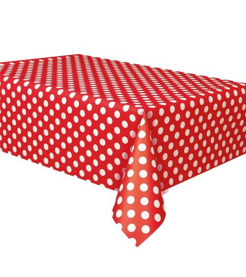 """Kunststoff-Tischdecke """"Big Dots"""" - rot - 137 x 274 cm"""