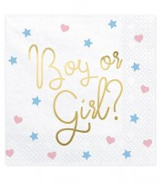 "Servietten ""Boy or Girl"" mit Golddruck - 20 Stück"