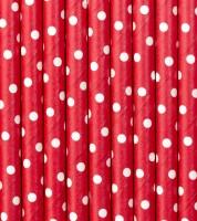Papierstrohhalme mit weißen Punkten - rot - 10 Stück