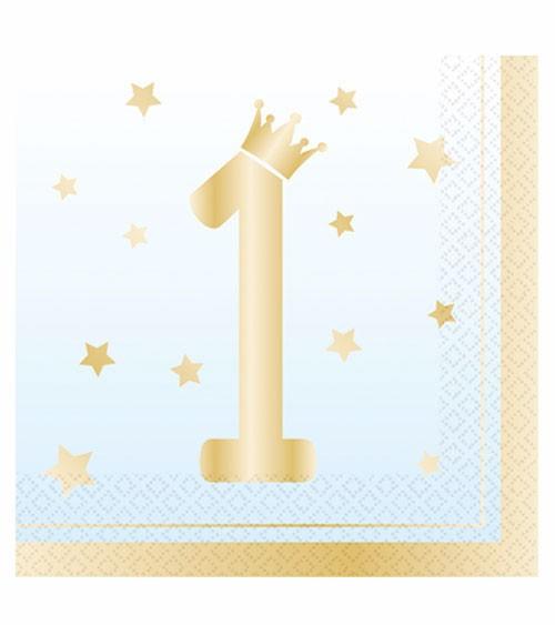 """Servietten """"1st Birthday"""" - hellblau ombre & gold - 16 Stück"""