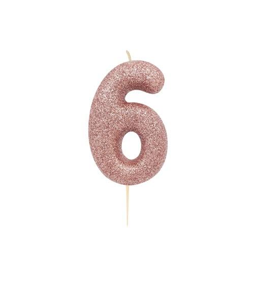 """Geburtstagskerze mit Glitter """"6"""" - rosegold"""