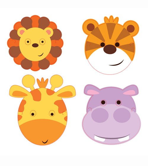"Masken ""Safari-Tiere"" - 8 Stück"