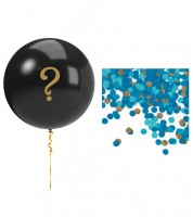 Gender Reveal Ballon-Set mit blauem Konfetti - 6-teilig