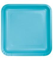Eckige Pappteller - bermuda blue - 18 cm