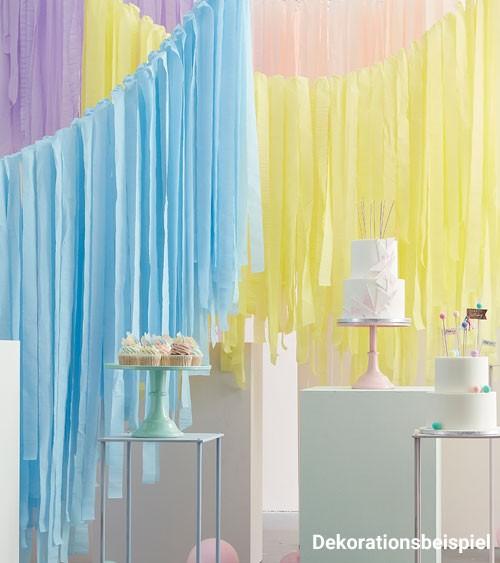 Deckendeko-Set mit Kreppbändern - rosa, hellblau, lavendel, gelb