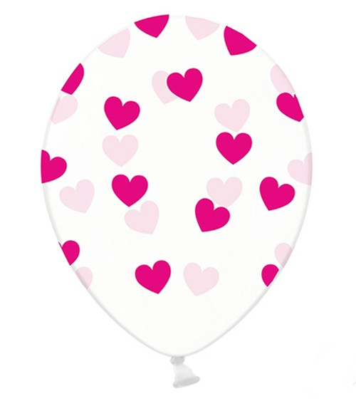 """Luftballons """"Pinke Herzen"""" - transparent - 6 Stück"""