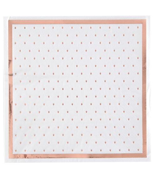 Servietten mit rosegoldenen Pünktchen - weiß - 20 Stück
