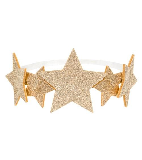 Haarband mit Sternen aus Filz - glitter gold