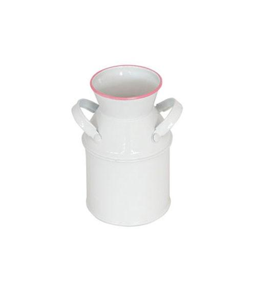 Deko-Milchkanne aus Metall - weiß, rosa - 6 x 10 cm