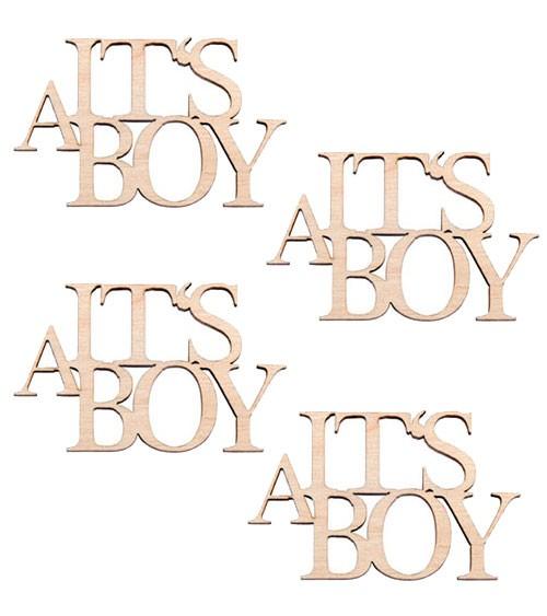 """Holz-Streuteile """"It's a Boy"""" - 5,5 x 3,5 cm - 4 Stück"""