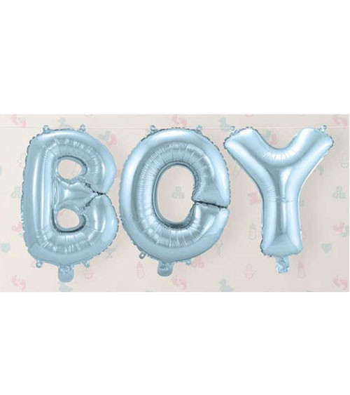 "Folienballon-Set ""BOY"" - hellblau - 36 cm"