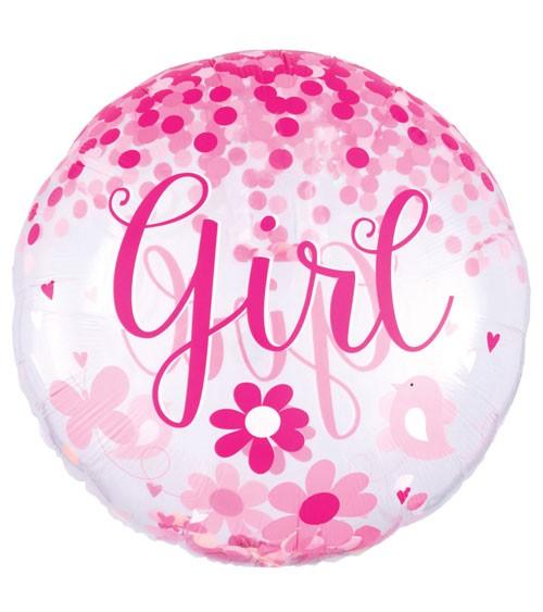 """Jumbo-Folienballon mit Konfetti """"Girl"""" - 71 cm"""