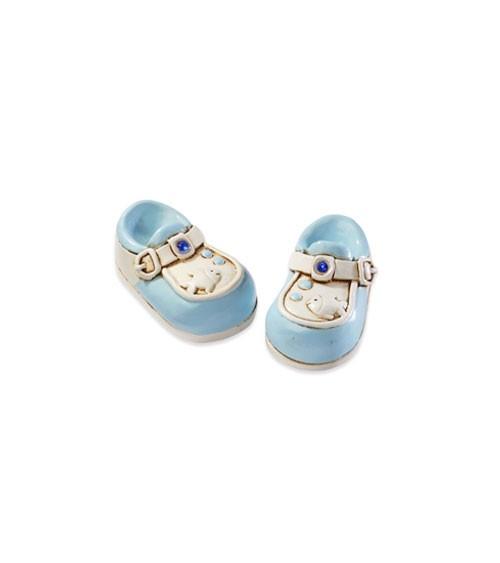 Babyschuhe aus Polyresin - blau - 3 cm - 2 Stück