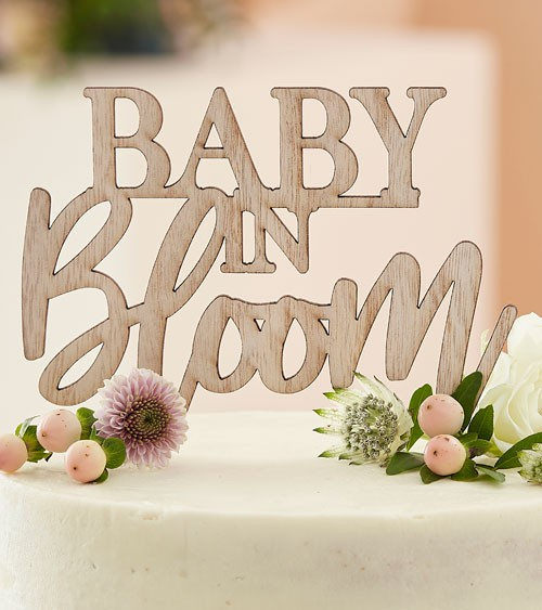 """Cake-Topper aus Holz """"Baby in Bloom"""""""