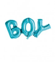 """Schriftzug-Folienballon """"BOY"""" - hellblau - 67 x 29 cm"""