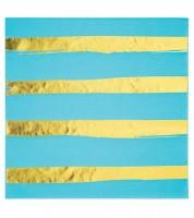 Servietten - bermuda blue/gold - 16 Stück