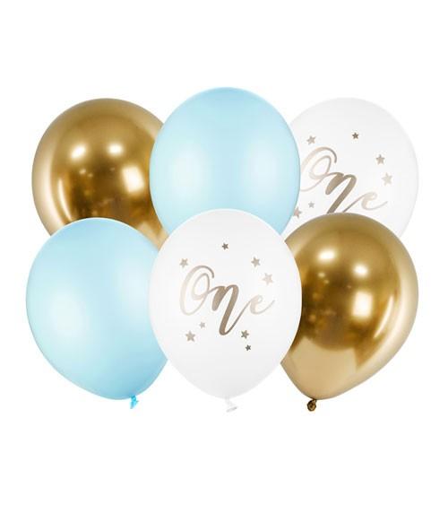 """Luftballon-Set """"One"""" - hellblau - 6-teilig"""