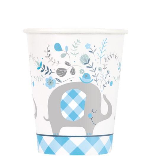 """Pappbecher """"Floral Elephant"""" - blau - 8 Stück"""