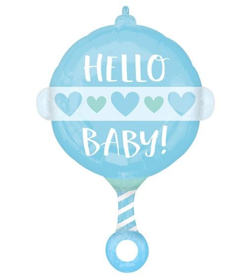"Rassel-Folienballon ""Hello Baby Boy"" - 43 x 60 cm"