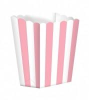 Popcornboxen mit Streifen - rosa - 5 Stück