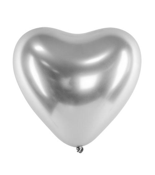 Glossy-Herz-Luftballons - silber - 50 Stück
