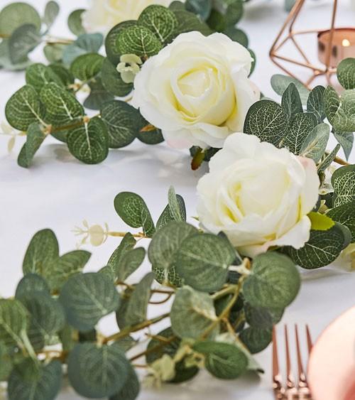 Künstliche Eukalyptus-Girlande mit weißen Rosen - 1,8 m