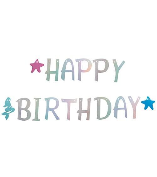 "Happy Birthday-Girlande ""Meerjungfrau"" - holographic - 2,7 m"