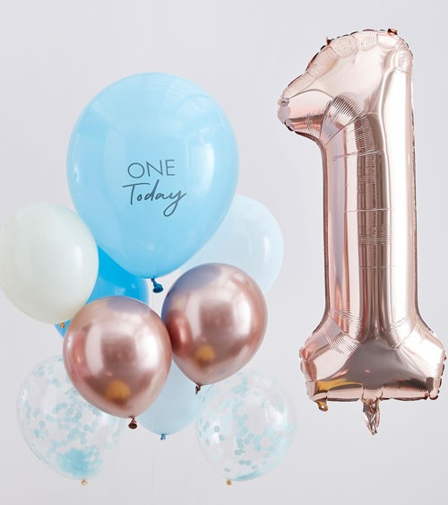 1. Geburtstag Ballon-Set mit Zahlenballon - blau - 10-teilig
