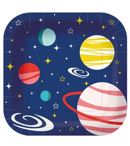 """Viereckige Pappteller """"Space"""" - 10 Stück"""
